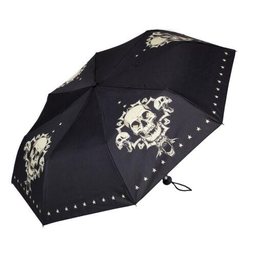 Taschenschirm Regenschirm Damen Totenkopf Schädel Gothik Steampunk Skull 5820T