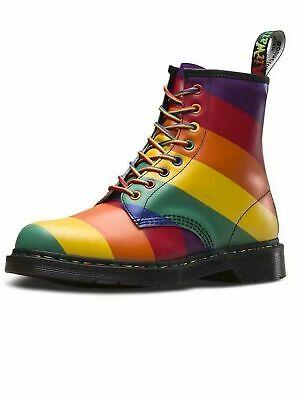 Unisex Dr Martens 1460 Pride Rainbow Multi Coloured Leather Ankle Boots Sz Size