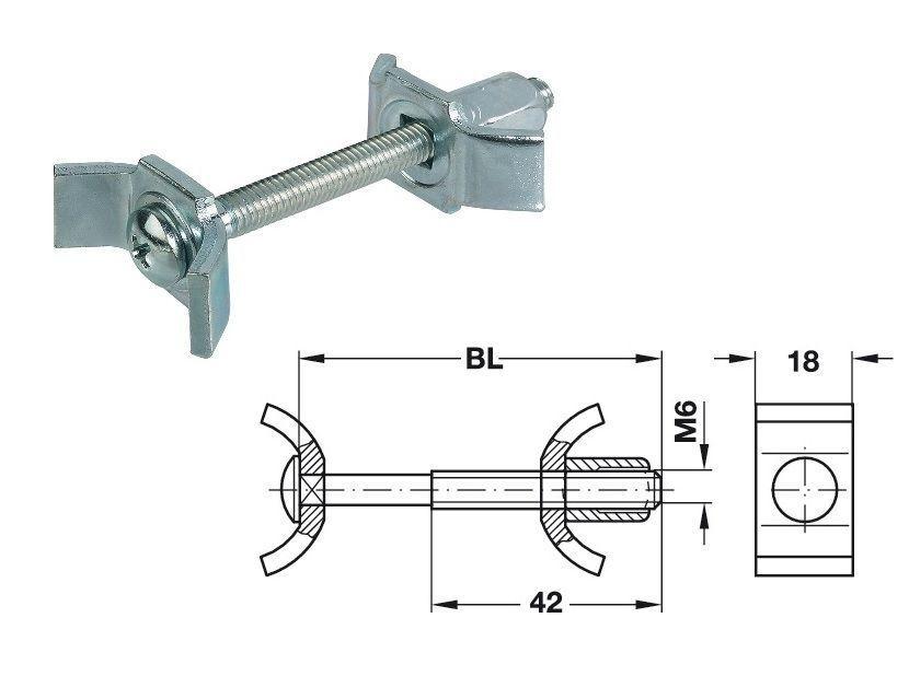 Arbeitsplattenverbinder 150 mm   65 mm Bolzenlänge Stahl verz. für 35 mm Bohrung