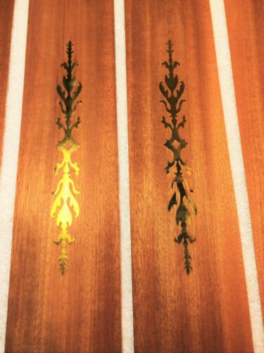 "++ Rare Mahogany raw wood veneer with inlaid brass feature 17.5"" x 3.5"""