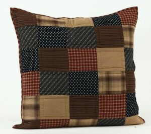 Patriotic-Patch-Quilted-EURO-Sham-VHC-Brands-Primitive-Plaid-Patchwork-Americana