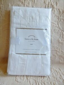 new pottery barn linen silk sham euro white ebay. Black Bedroom Furniture Sets. Home Design Ideas