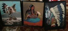SET3 Indian CHIEF Original Watercolor Painting on  Cardboard NATIVE AMERICAN US