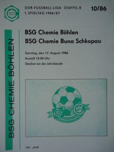 Programm DDR Liga 1986//87 BSG Chemie Böhlen Buna Schkopau