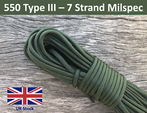 100ft 550 Paracord Type III Olive Green Military Milspec 7 Strand Survival Army