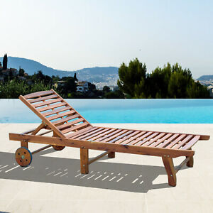 Outsunny Sunbed Poolside Recliner Adjustable Wooden Teak
