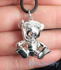 SOLID-Sterling-Silver-3D-Snorkeling-Scuba-Dive-Diver-Teddy-Bear-Pendant-Necklace