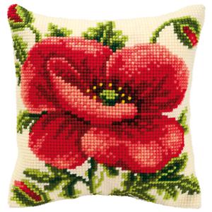 Vervaco Oriental Poppy Cushion Cross Stitch Kit