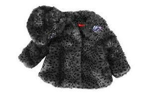 NWT-Authentic-Kate-Mack-Toddler-Girls-Leopard-Fur-Coat-w-Hat-BLACK-Size-18M-8