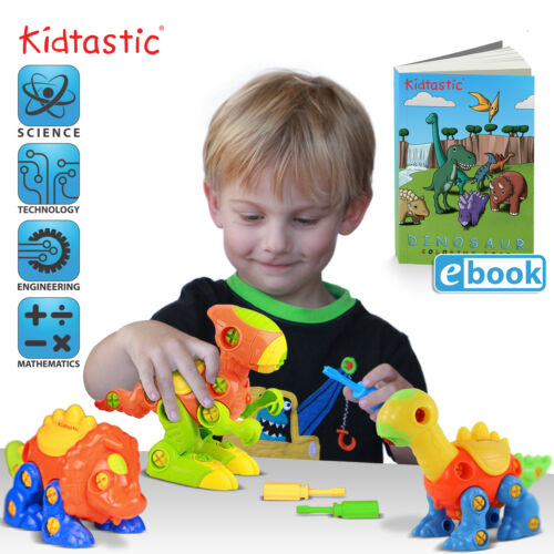Pack of 3 106 pieces Kidtastic Dinosaur Toys STEM Learning Take Apart Fun