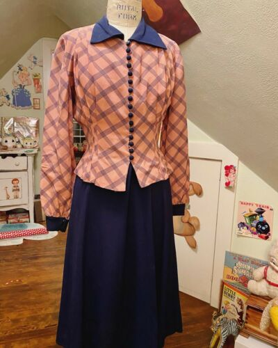 Vintage 1940s Two Piece Dress And Jacket Rayon Set