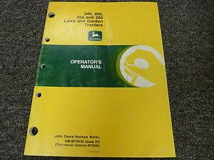 john deere 240 260 265 285 lawn garden tractor owner operator rh ebay com john deere 265 owners manual john deere 265 service manual pdf
