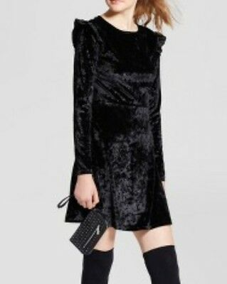 New Mossimo Black Long Sleeve Womens Crushed Velvet A-Line Dress Size L 70A