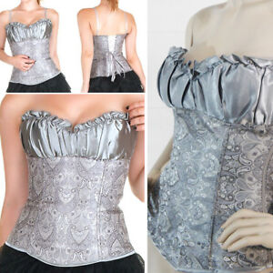 sexy silver grey padded gothic steampunk overbust corset