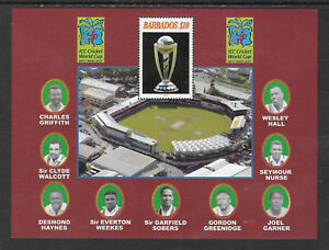 BARBADOS-2007-Famous-Cricketers-SOBERS-ICC-CRICKET-WORLD-CUP-Souv-Sheet-MNH
