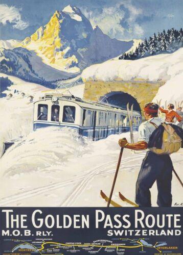 Art Deco Travel Print Swiss 1934 Vintage Ski Posters MONTREAUX BERNER OBERLAND