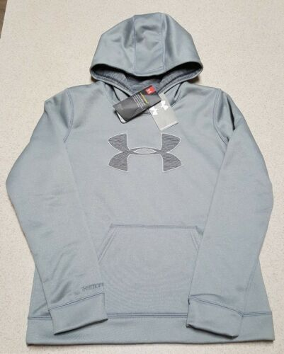 Youth Under Armour Solid Big Logo Storm1 Gray Kids Hoodie Size Large 14-16