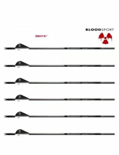 """BloodSport Onyx 350 .004 6PK Arrows w// 2in Fletchings 31""""ROC Outserts"""