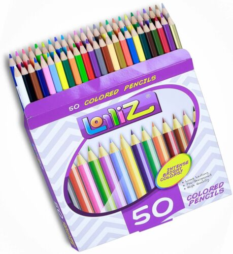 Color Pencil 50 Assorted Pencils for Adult Coloring Books Drawing Art Sketching