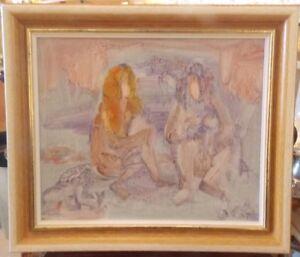 Tableau-Jac-Lem-Jacques-Lemonnier-dedicace-Femmes-mimetisme-abstrait-peinture