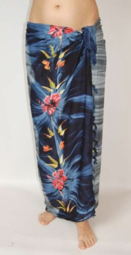 NEW BLUE /& GREY FLOWER PRINT SARONG SKIRT FULL LENGTH COVER UP ONE SIZE sa258
