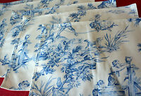 Toile Placemat Blue & White Set (5) Wheelbarrow French Country Newbridge L24