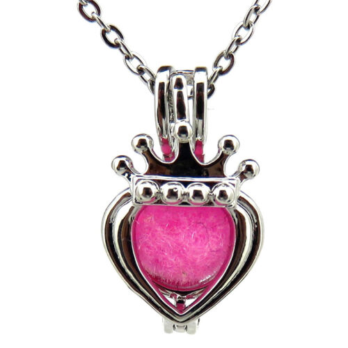 HY-K571 Silver 20mm Crown Heart Copper Pearl Beads Cage Necklace Fit 7-8mm