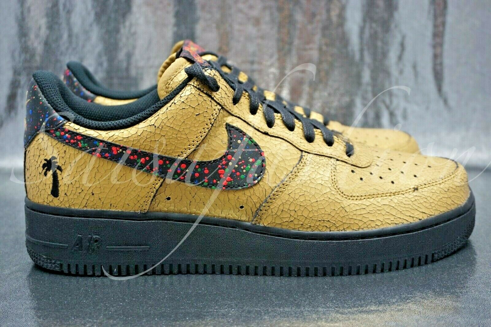 Nike Air Force 1 07 Caribana Festival Metallic gold Black Sneakers Men Size 10.5