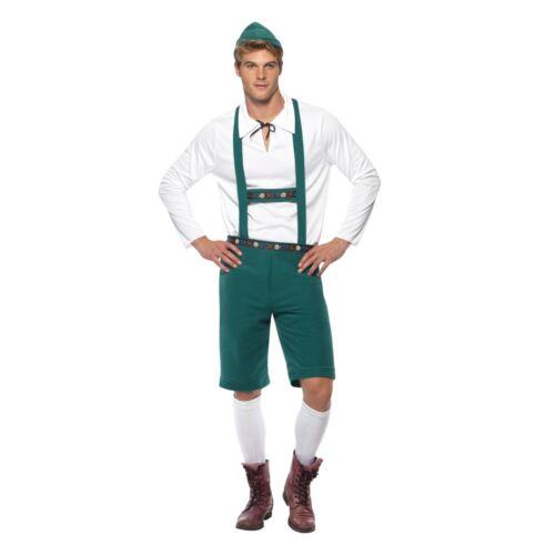 Hombre Bávaro Disfraz con Lederhose cortos y tirantes, TOP Sombrero Oktoberfest