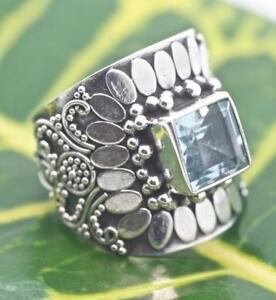 Handmade-Sterling-Silver-925-Bali-Solitaire-Ring-w-Accents-and-Square-Blue-Topaz