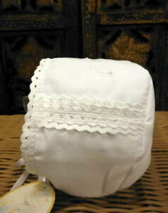 Will-039-beth-Infant-Newborn-Baby-Girl-White-Bonnet-Lace-Christening-0-6m