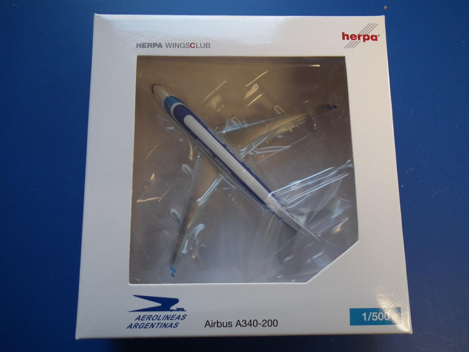HERPA 1 500-520683-Aerlineas Silberinas Airbus A340-200-Reg LV-ZPO- 1000 Stück-