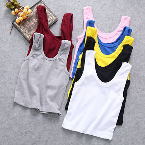 Womens Sleeveless Cami T Shirt Summer Tank Vest Belly Crop