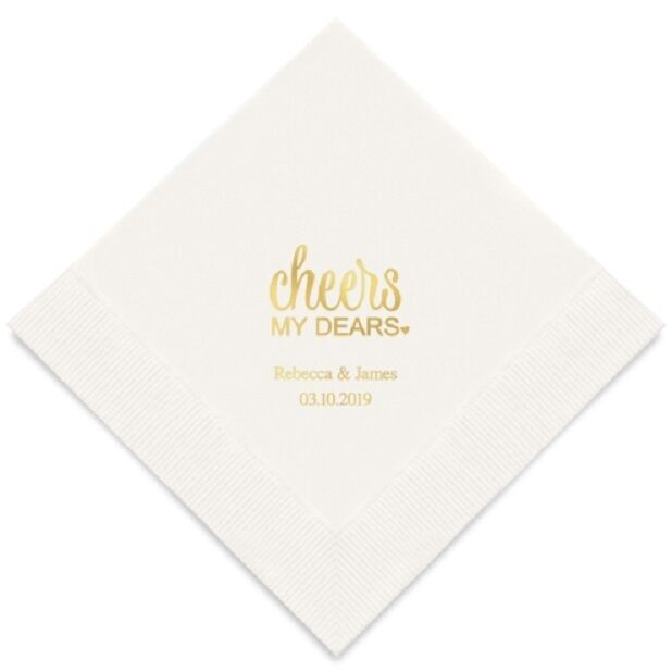 100 Cheers My Dears Personalized Wedding Luncheon Napkins