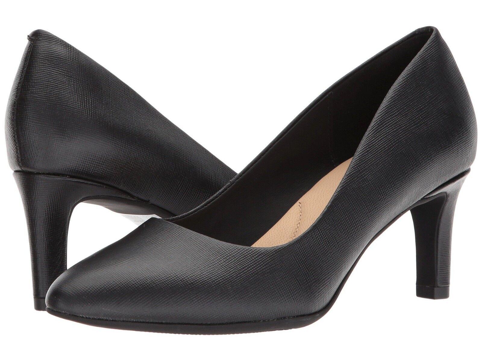 donna scarpe Clarks CALLA rosa Leather Closed Toe Pump 31857 nero Leather New