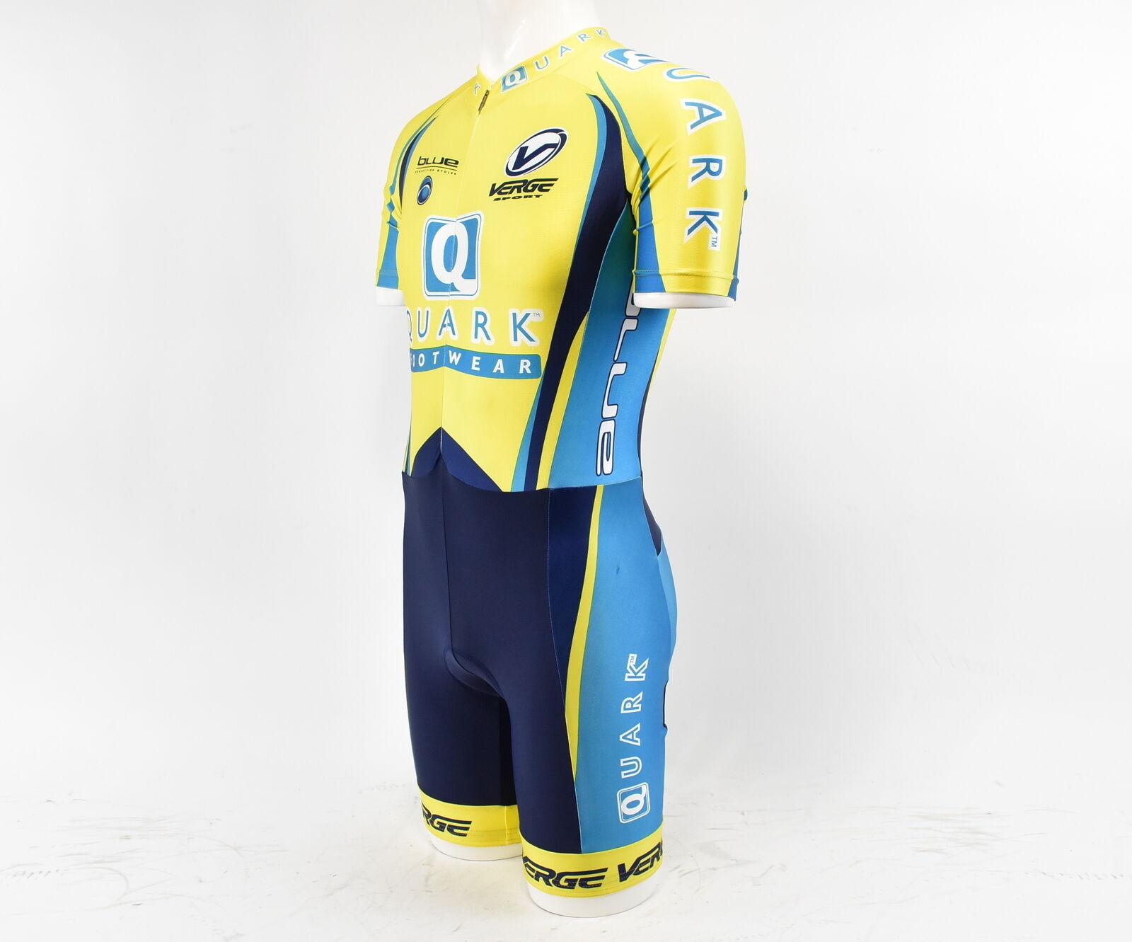Verge Team Quark Wouomo Short Sleeve Lycra Cycling Skinsuit gialloblu L NOS