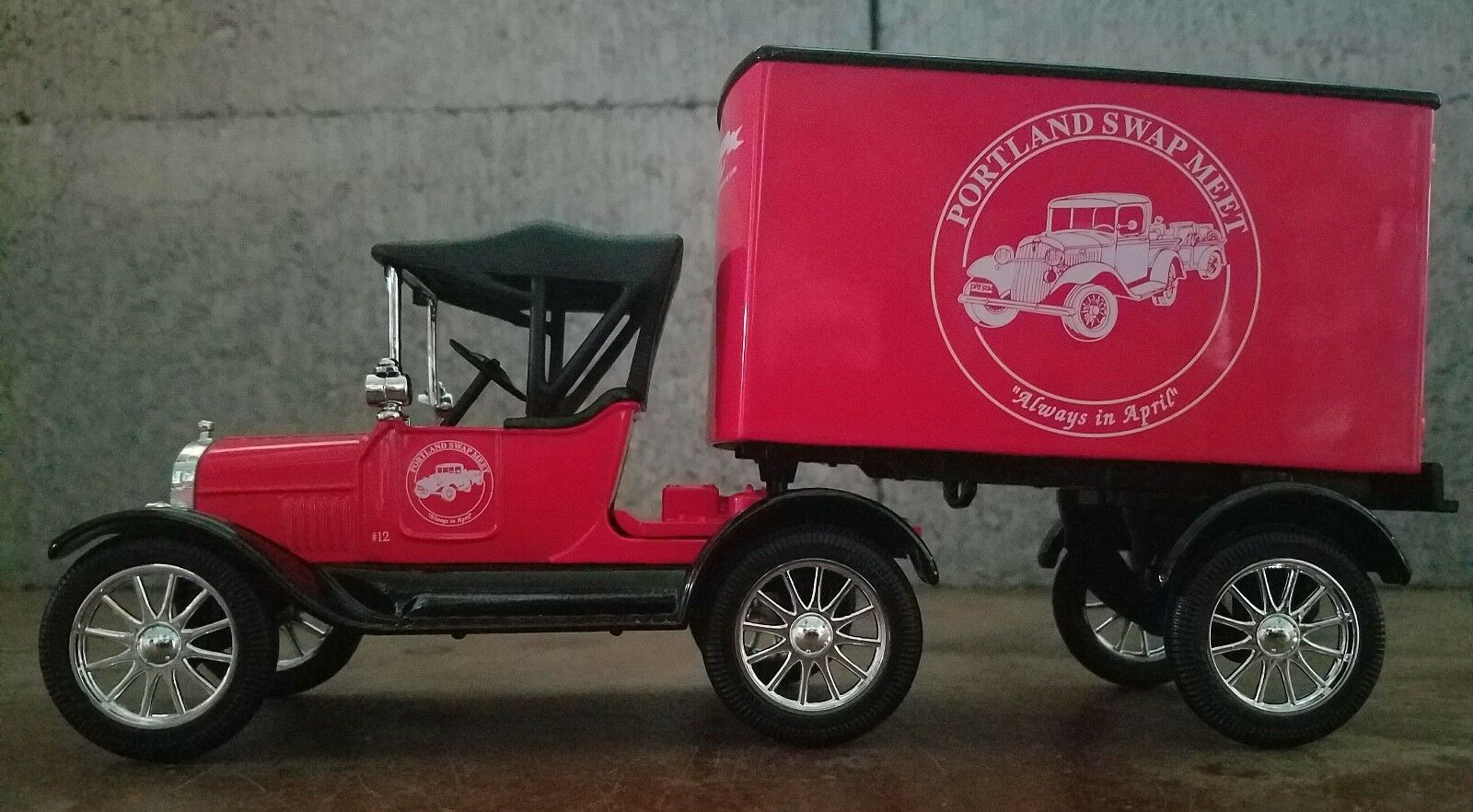 Diecast 1918 Red Ford Cab and Trailer Portland Swap Meet Edition