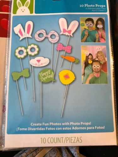1O Easter Photo Booth Prop KIT NEW Set Create Funny Photos 10-Sticks Fun Party