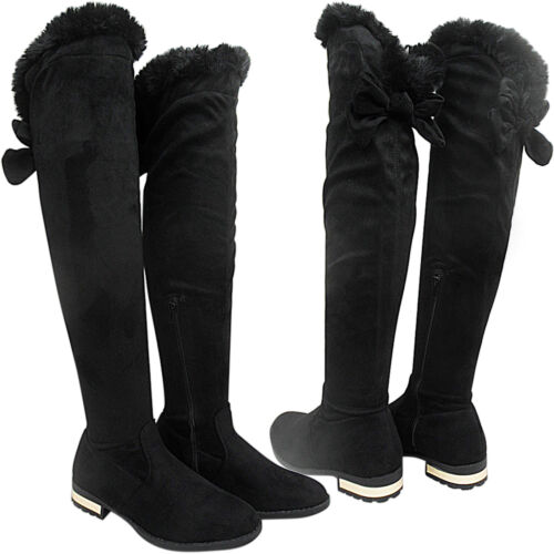 NEW WOMENS LADIES OVERKNEE THIGH FLAT LOW HEEL FUR SIDE ZIP PARTY SIZE RIDING