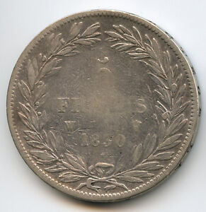 Louis-Philippe (1830-1848) 5 Francs Head Naked 1830 W Lille Without Le I