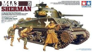 Tamiya-35250-1-35-Model-Kit-WWII-U-S-Medium-Tank-M4A3-Sherman-75mm-Gun-Version