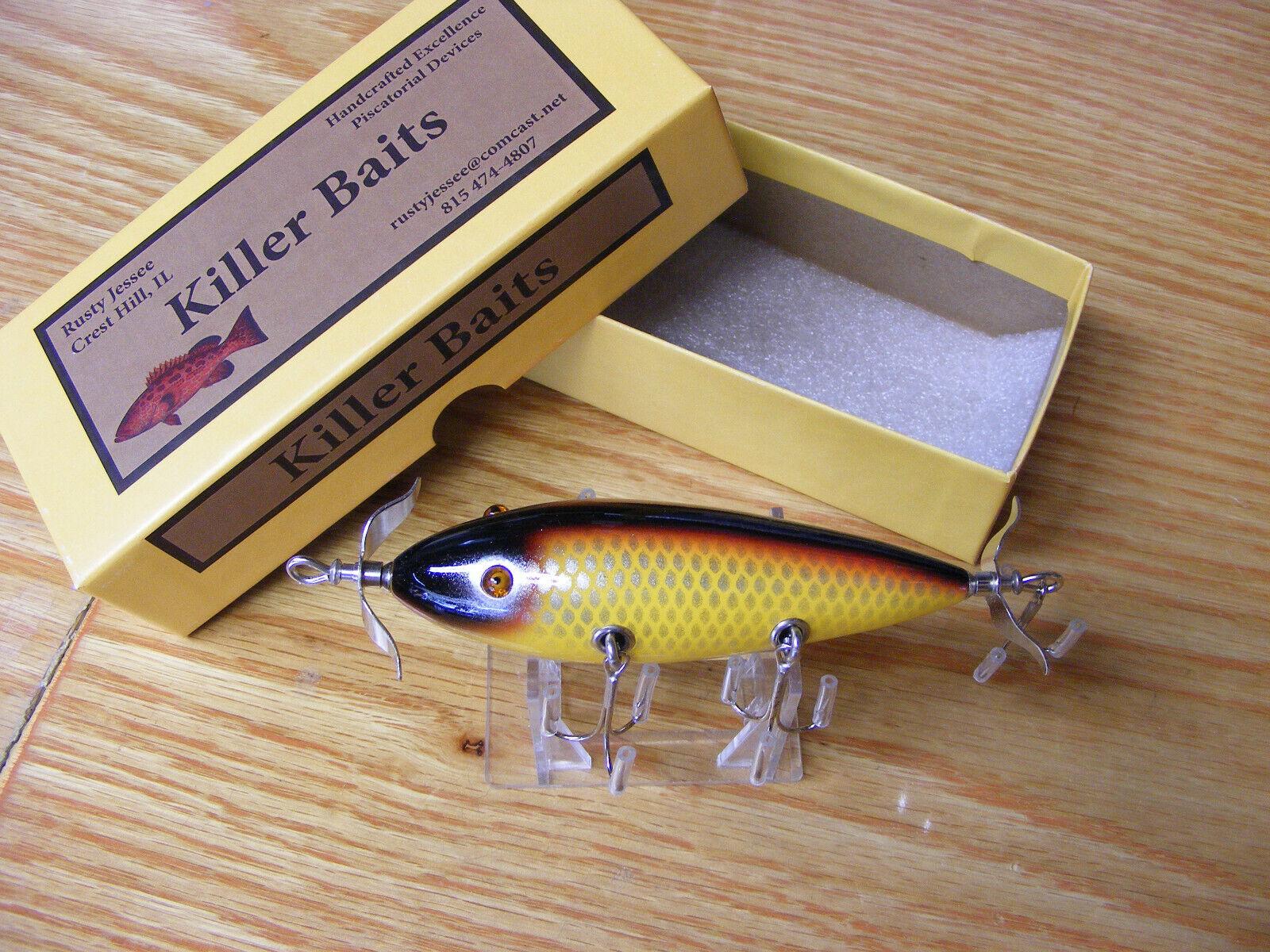 Killer  Baits Rusty Jessee Heddon 300 Style Glasseye 5 Hooker in Grasshopper  high quality & fast shipping