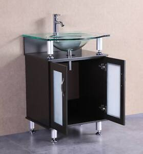 24 inch belvedere modern freestanding espresso bathroom vanity w tempered glass ebay for Freestanding 24 inch bathroom vanity