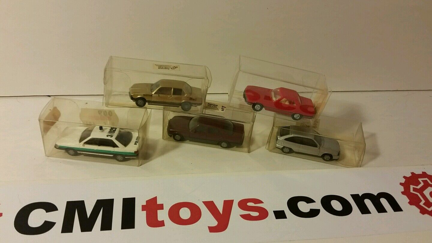 HERPA minature Toy car lot x5 Mercedes 350sl 500se Audi 200 Opel kadett BMW 323i