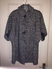 Debenhams Red Herring Black/white Tweed Ladies Tulip Sleeve Coat Size 12