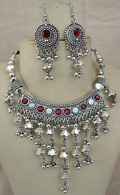 Boho Tribal Costume Jewelry Silver Plate Vintage Bib NECKLACE Bellydance gypsy