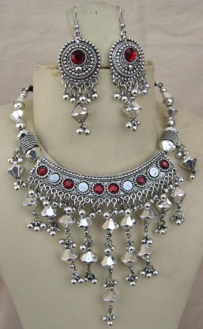 Boho Tribal Costume Jewelry Silver Plate Vintage Bib NECKLACE Bellydance gypsy