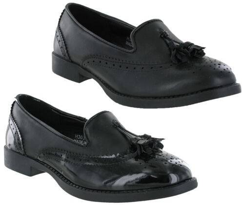 Womens Girls Black Brogues School Shoes Casual Work Fashion Loafers Spot On