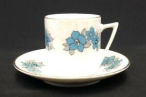 Vintage-Chinese-Porcelain-Demitasse-Cup-amp-Saucer-Set-Blue-Flowers