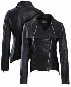 Womens Black Faux Leather Biker Jacket PU coat Size 8 10 12 14